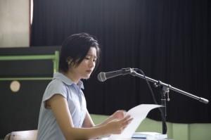 作品の朗読と文芸について講話